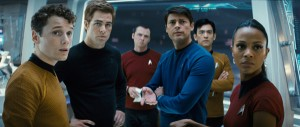 Star Trek movie image anton yelchin as chekov chris pine as james t. kirk simon pegg as lt. montgomery scott karl urban as dr. mccoy john cho as sulu and zoe saldana as uhura