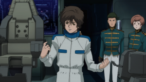 Notice here how Banagher channels his inner Newtype before he makes his speech.