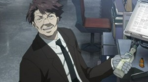 Psycho-Pass Masaoka taking a drink