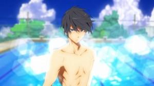 swimming anime stoic guy