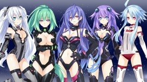 All the HDD Forms for the girls. From left to right, Noire (Black Heart), Vert (Green Heart), Plutia (Iris Heart), Neptune (Purple Heart), and Blanc (White Heart).