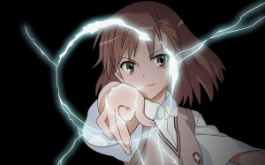 Misaka Mikoto, rank 3 Level 5 ESPer, also known as the Railgun. Can you guess why?