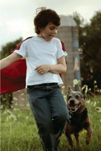 Child Clark Kent, playing with his cute little dog~