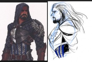 Drawing off of the official Gray Warden sketch to the left, I drew the fan art to the right; but is the act of looking at official art as a reference such a bad thing?