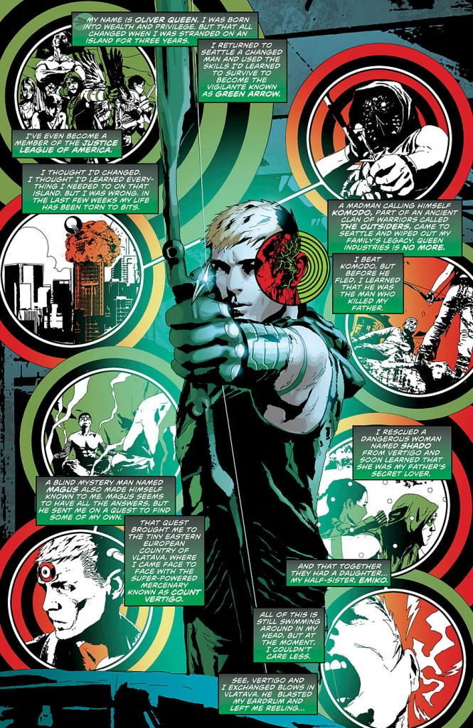 The first page of Green Arrow #24, which showcases the art team's talents.