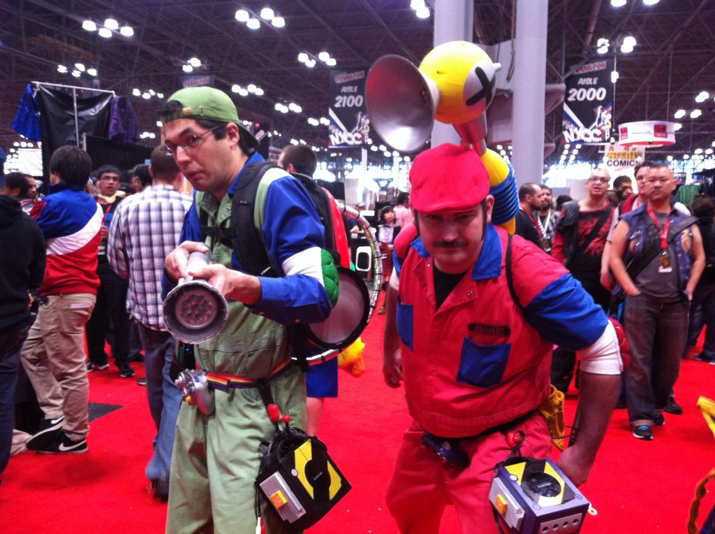 Mario and Luigi were there to clean up the messes left by inconsiderate con-goers.