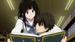 Hyouka - Chitanda and Hotaro researching