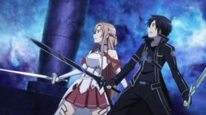 Sword Art Online Kirito and Asuna take on enemies