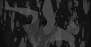 Blink and you'll miss this shot of Haruki's brother drowning