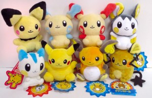 Pikachu family plushies