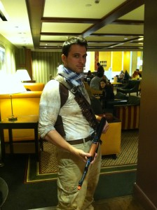 A Nathan Drake cosplay I found in Starbucks...does it seem like he'd be more of a Dunkin' Donuts type, or is it me?