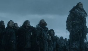And after surviving the Hardhome massacre, Jon and co get to return to cold shoulders and disappointment. This moment brought to you by The Night's Watch - Don't Forget, It's Only For Life