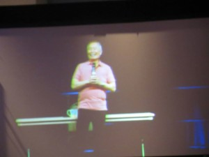 Even slightly blurry from being projected onto a screen, still one of the most likable people alive.